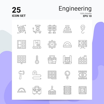 25 engineering icon set geschäft logo concept ideas line-symbol