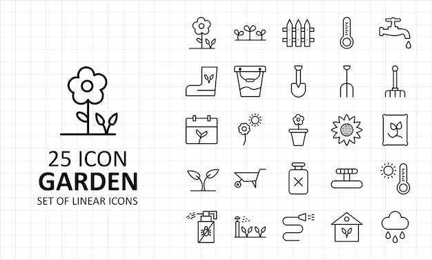 25 garten symbol blatt pixel perfekte symbole