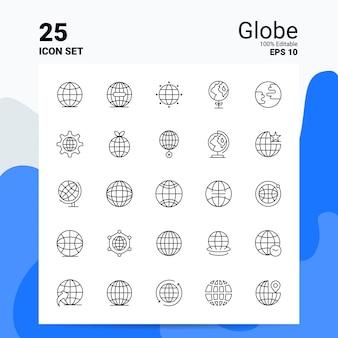 25 globus icon set geschäft logo concept ideas line-symbol
