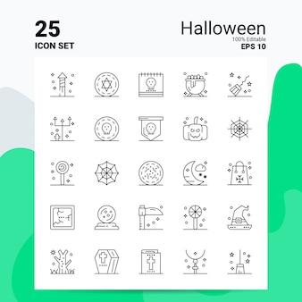 25 halloween icon set geschäft logo concept ideas line-symbol
