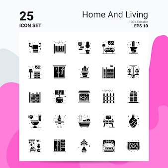 25 home and living icon set geschäft logo concept ideas feste glyphe-symbol