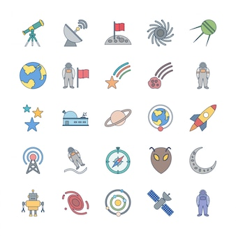 25 icon-set der astronomie