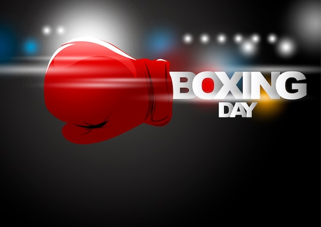 26. dezember-shopping-konzept von boxhandschuhen mit licht