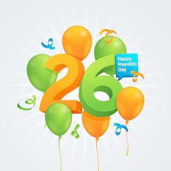 26. januar tag der indischen republik mit ballonen