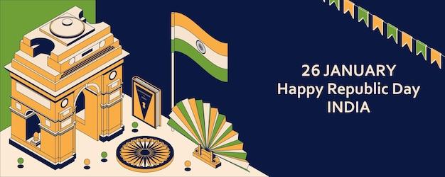 26. januar tag der republik indien. grußkarte im isometrischen stil mit indian gates.