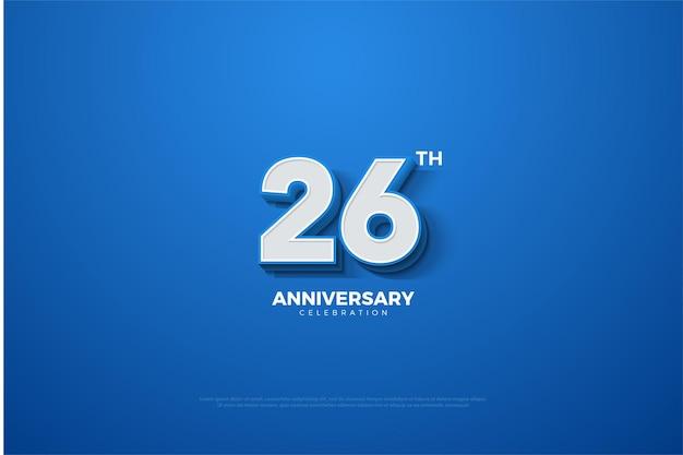 26. jubiläumshintergrund mit geprägten 3d-zahlen