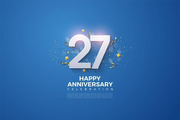 27. jahrestag hintergrund mit zahlen und party schnickschnack auf einem blauen hintergrund.