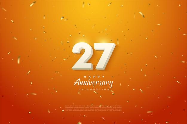 27. jahrestag mit einer leuchtenden nummer oben.