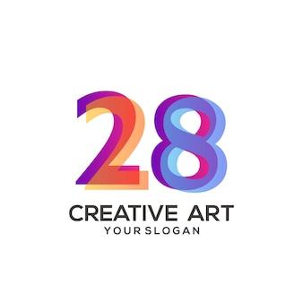 28 zahlen logo farbverlauf design bunt