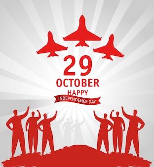 29. oktober republik tag truthahn mit menschen und kriegsflugzeugen