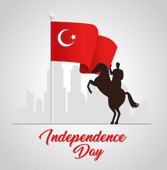 29. oktober republik tag truthahn mit militär im pferd mit flagge
