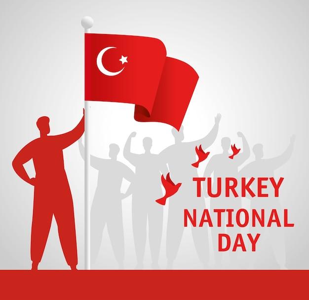 29. oktober republik tag truthahn mit person, die flagge hält