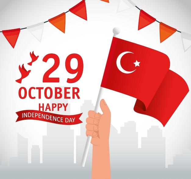29. oktober republik tag truthahn und hand mit flagge