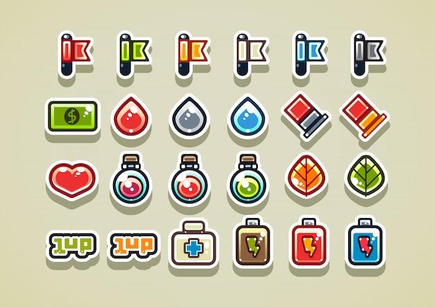 2d-arcade-elemente für ein videospiel