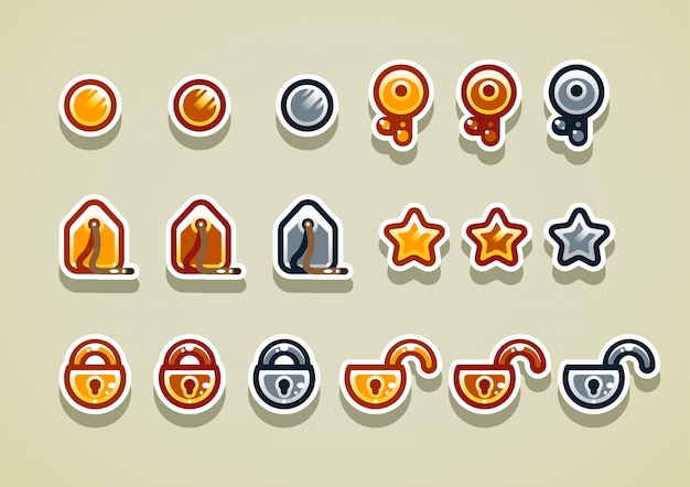 2d-arcade-elemente für videospiele. set 2.