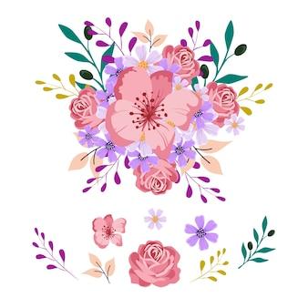 2d blumenblumenstrauß-illustrationssatz