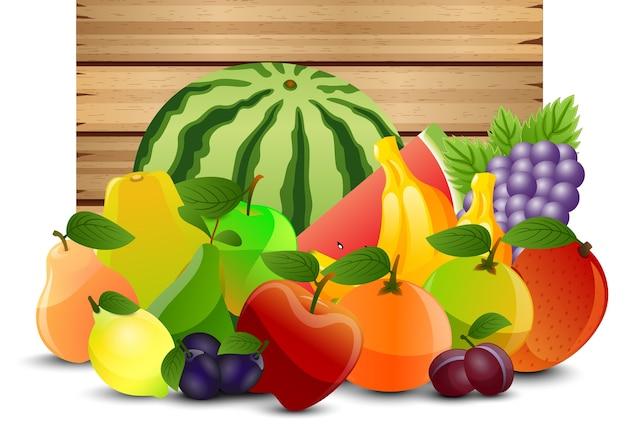 2d früchte entwerfen auf hölzernem hintergrund