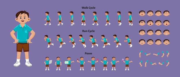 2d-modellblatt des jungencharakters mit laufzyklus- und laufzyklusanimations-sprites-blatt. jungenfigur mit verschiedenen posen