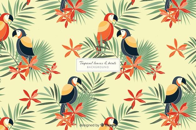 2d tropischer blätter- und vogelhintergrund