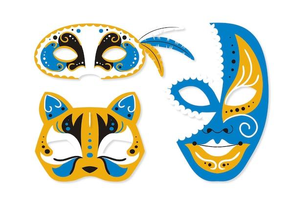 2d venezianische karnevalsmasken Kostenlosen Vektoren