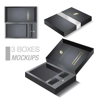3 boxen mockup mockup einer box mit schwarzen und goldenen farben