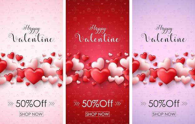 3 glückliche valentinsgrußverkaufsfahne der farbe