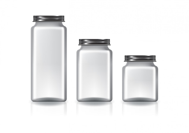 3 größen eines leeren, durchsichtigen, quadratischen glases mit schwarzem schraubdeckel für nahrungsergänzungsmittel oder lebensmittel.