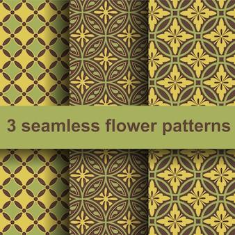 3 nahtlose Blumenmuster.