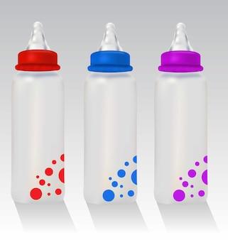 3 realistische rote blaue und violette babyflaschen realistische bunte babyflaschen