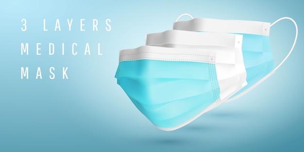 3 schichten medizinische maske. realistische medizinische gesichtsmaske. details 3d medizinische maske.