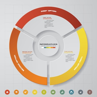 3 schritte zyklus diagramm infografiken elemente.