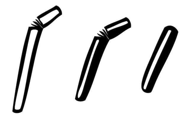 3 stlye stroh, vektor-doodle-handskizze, isoliert auf weiß