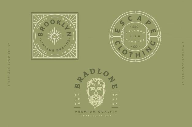 3 vintage logo set - brooklyn vintage markenlogo - escape clothing logo - bradlone custom logo vollständig bearbeitbarer text, farbe und umriss