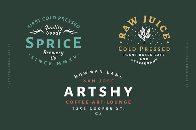 3 vintage logo set - sprice brewery kaltgepresstes logo - kaltgepresster rohsaft logo - artshy coffee art & lounge logo vollständig bearbeitbarer text, farbe und umriss