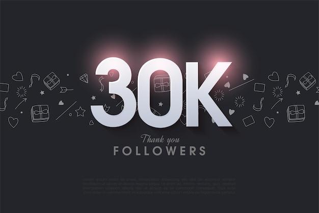 30.000 follower hintergrund mit leuchtenden zahlen.
