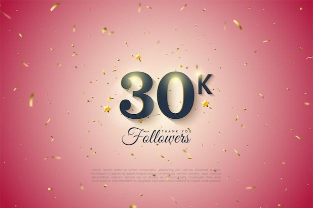30.000 follower hintergrund mit numerischen zahlen und verlaufshintergrund.