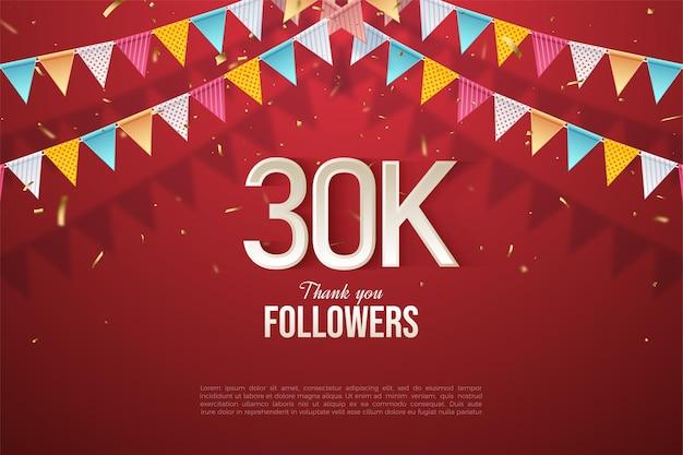 30.000 follower hintergrund mit zahlen unter 4 bunten flaggen.