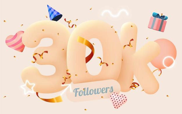 30.000 oder 30000 follower bedanken sich bei pink heart, golden confetti und neonschildern.