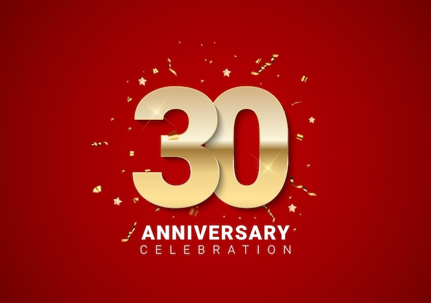30-jähriger hintergrund mit goldenen zahlen, konfetti, sternen auf leuchtend rotem feiertagshintergrund. vektor-illustration eps10