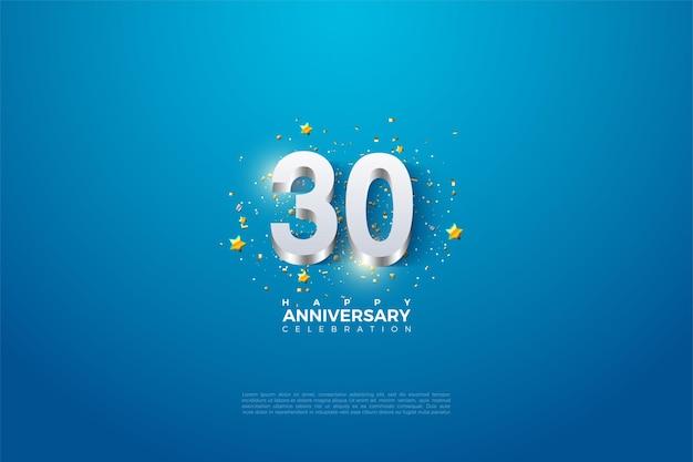 30. jahrestag hintergrund mit glänzenden versilberten ziffern illustration