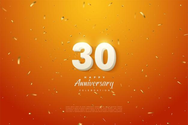 30. jahrestag hintergrund mit kühnen weißen zahlen und orange hintergrund