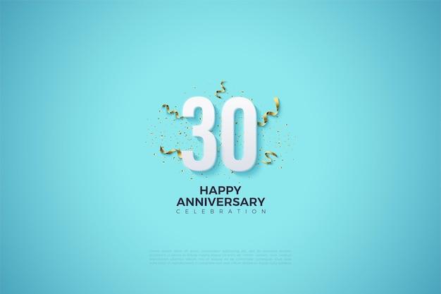 30. jahrestag hintergrund mit zahlen auf einem klaren himmelblauen hintergrund
