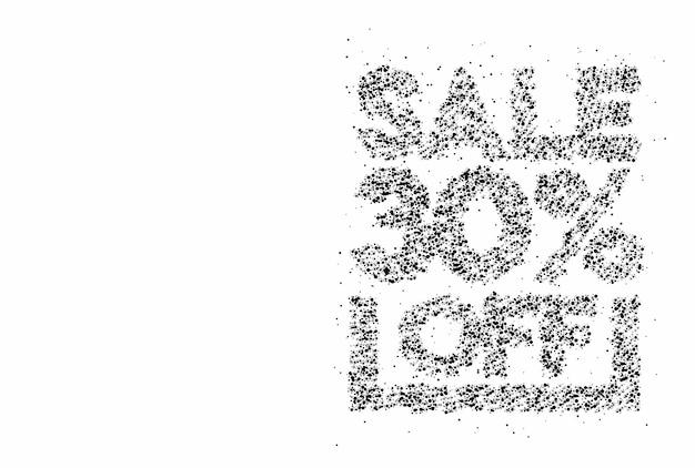 30% rabatt auf den sale-rabatt-partikel-design-banner. rabattangebot preisschild. vektor-moderne aufkleber-illustration.