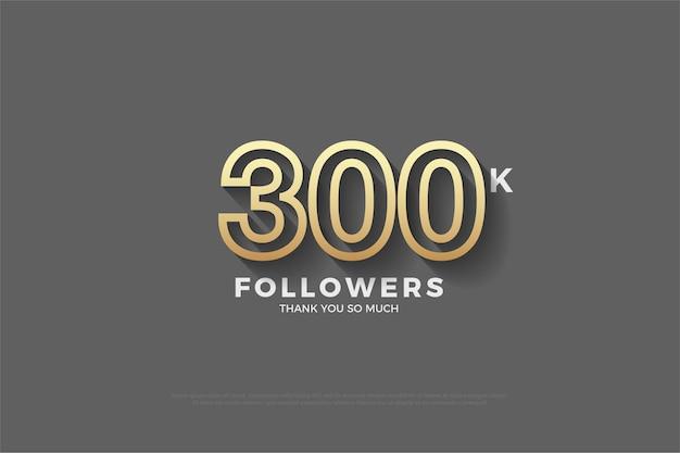 300.000 follower mit braunen zahlen auf grauem hintergrund