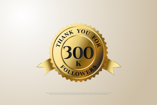 300.000 follower mit einer nummer in der mitte der goldmedaille