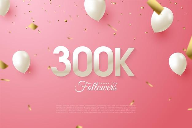 300.000 follower mit illustrierten nummern auf offenen geschenkboxen.