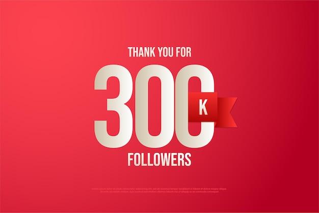 300.000 follower mit zahlen und rotem band