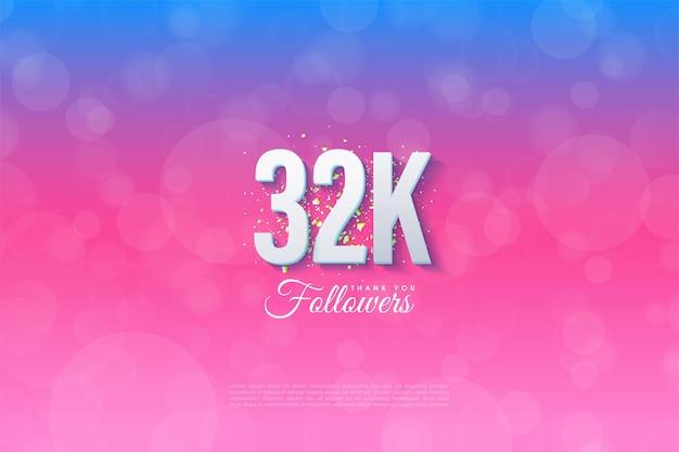 32k follower-hintergrund mit 3d-figurendarstellung