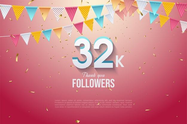 32k follower hintergrund mit bunten flaggennummern illustration