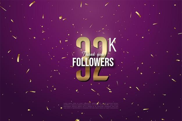 32k follower hintergrund mit flachem nummerndesign